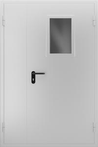 Двустворчатая противопожарная дверь со стеклом ДМПО 02 №47 EI15 вид снаружи