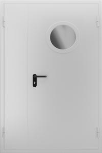 Противопожарная дверь с круглым стеклом ДМПО 02 №48 EI15 вид снаружи