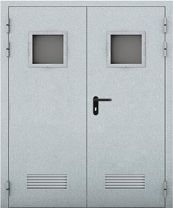 Глухая противопожарная дверь с вентиляционной решеткой ДМП 02 №39 EI60 вид снаружи