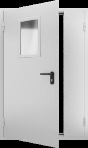 Двустворчатая противопожарная дверь со стеклом ДМПО 02 №47 EI15 вид внутри