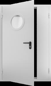 Противопожарная дверь с круглым стеклом ДМПО 02 №48 EI15 вид внутри