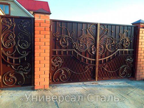 Кованые ворота V-036 — фото
