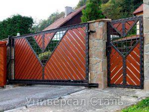 Кованые ворота V-039 - фото 1