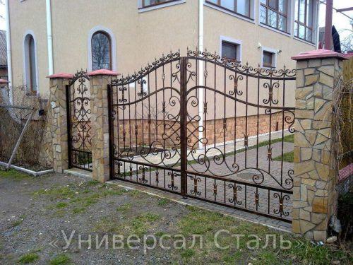 Кованые ворота V-073 — фото